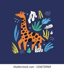 Giraffe flat hand drawn vector characters. Cute african animal cartoon character. Zoo, safari mammal. Savannah, jungle creature. Isolated wildlife clipart. Kid book, t-shirt, travel postcard design