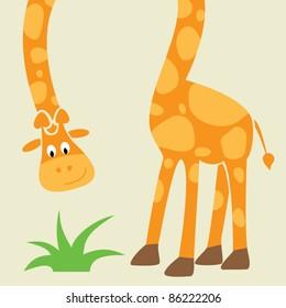 Giraffe - funny cartoon greeting card