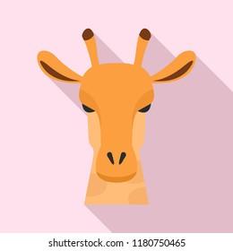 Giraffe head icon. Flat illustration of giraffe head vector icon for web design