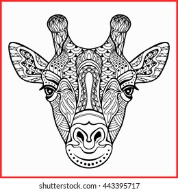 Giraffe head vector graphic illustration black and white, giraffe isolated,  giraffe print ,  giraffe,  giraffe head vector. Drawing by hand style zentangle.