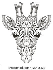 Giraffe head zentangle stylized, vector illustration, freehand pencil, hand drawn, pattern. Zen art. Ornate.