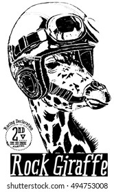 giraffe and helmet and motorcycle graphic for t shirt and tee print