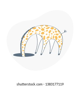 Giraffe hid his head in the hole. 404 sign. Page or file not found, connection error. Flat outline vector on white background.