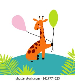 Giraffe holding air balloons; a cute character for nursery, babyshower, poster or greeting card. Flat cartoon style. Vector