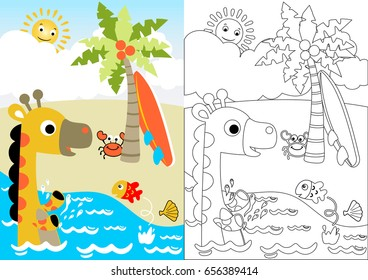 giraffe and little friends in the beach, vector cartoon, coloring book or page