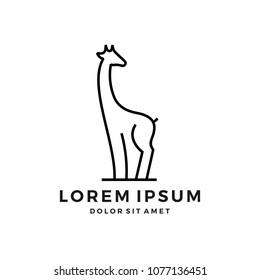giraffe logo line art outline monoline