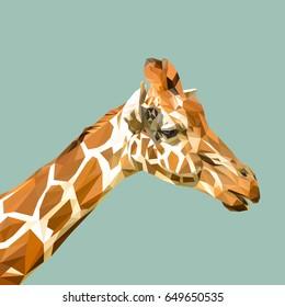 Giraffe low poly design. Triangle vector illustration.