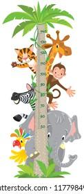 Giraffe, monkey, tiger. Meter wall or height chart