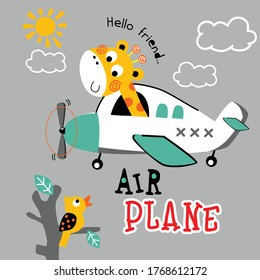 giraffe on the airplane funny animal cartoon,vector illustration