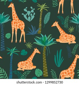 Giraffe pattern with tropical leaves. Vector seamless texture.