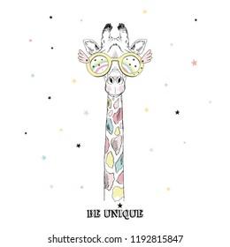 Giraffe portrait wearing bright colored Unicorn accessories. T-shirt print. Hand drawn vector illustration.