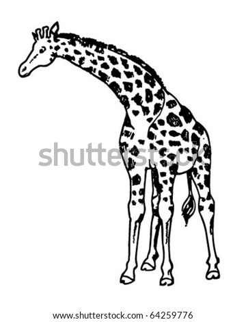 Giraffe Retro Clipart Illustration Stock Vector Royalty Free