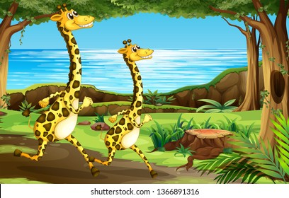Giraffe running in the forest illustration