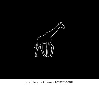 Giraffe Silhouette on Black Background. Isolated Vector Animal Template for Logo Company, Icon, Symbol etc
