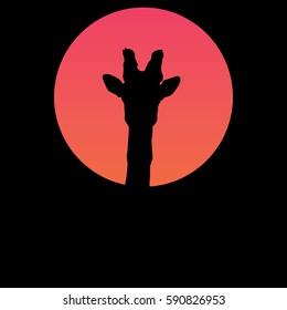 Giraffe silhouette in the sunset/Giraffe vector