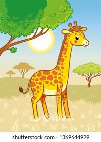 Giraffe stands in the savannah. Cute african animal in cartoon style. Vector illustration.