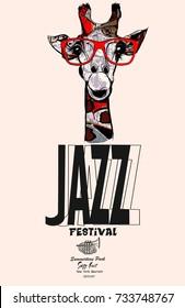 Giraffe with sunglasses - Jazz poster - vector illustration