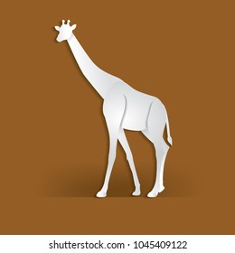 Giraffe in trendy paper cut craft graphic style.  Modern design for advertising, branding greeting card, cover, poster, banner. Vector illustration.