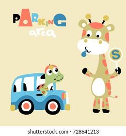 giraffe and turtle, vector cartoon illustration