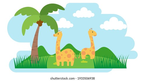 Giraffe Vector Cute Animals in Cartoon Style, Wild Animal, Designs for Baby clothes. Hand Drawn Characters