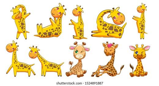 giraffe vector set clipart design
