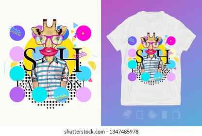Giraffe, zine style. Print for t-shirts and another, trendy apparel design