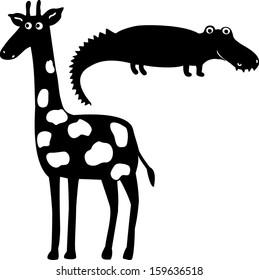 Giraffe&crocodile. Hand drawn illustration.