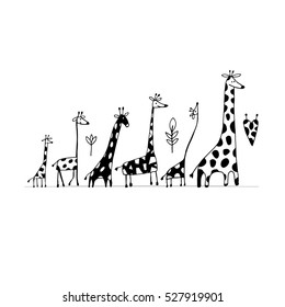Giraffes family, sketch for your design