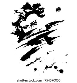 Girl abstract ink hand brushed vector illustration. Woman in a scarf drawing. Black and white print. Fashion poster. Amazing hand made artwork on paper. Beautiful female portrait.
