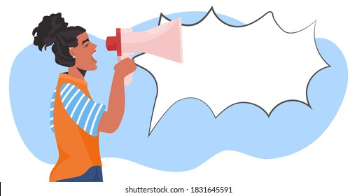 girl activist talking in loudspeaker female empowerment movement women power announcement concept portrait horizontal vector illustration