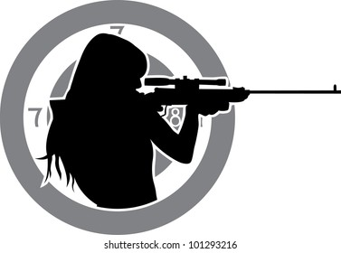 girl aims from a rifle with target background stencil