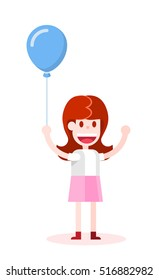 Girl with an Air Balloon. Isolated Flat Vector Illustration on White Background.