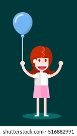 Girl with an Air Balloon. Isolated Flat Vector Illustration on Dark Background.