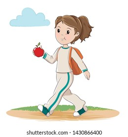 Girl with apple and backpack walking. Vector illustration