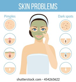 Girl applies cosmetic mask on her face. Skin problems solution, home remedies. Vector stock illustration.