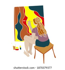 Girl artist is painting a picture on her easel. Oil, acrylic or watercolor paintings. Bright cartoon vector illustration for art school, workshop, online tutorial, social media profile.
