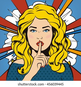Girl asking for silence with the finger on her lips. Girl says shh. Pin up woman putting her forefinger to her lips for quiet silence (shhh). Comics style. Vector illustration. Sensual sexy red lips.