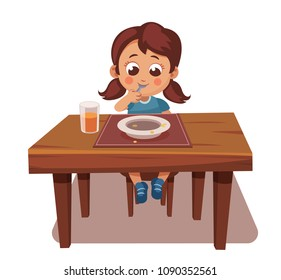 girl ate all the food. tasty meal, good appetite. child sits at table and eats. licking the spoon, empty plate