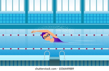 Girl athlete swimmer swims in the indoor pool. The interior of the pool is blue. Horizontal arrangement. Vector illustration. Flat.