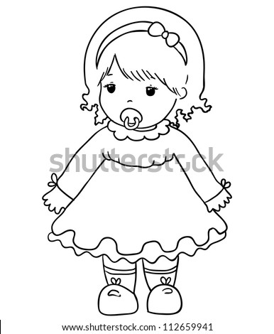 Girl Baby Doll Contour Stock Vector Royalty Free 112659941