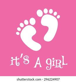 It's a girl, baby feet, vector illustration