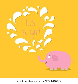 Its a girl. Baby shower card with elephant and fountain. Flat design Vector illustration.
