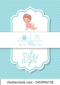 its a girl baby shower card with little kid