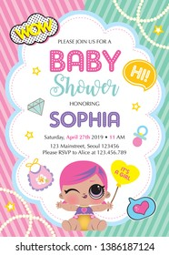 It's a girl! Baby shower card template with baby Lol Dolls Surprised