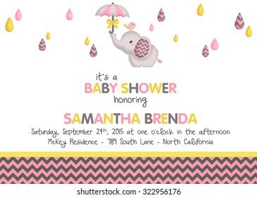 Boy Elephant Baby Shower Invitation Stock Vector Royalty Free