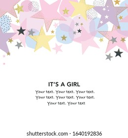 It's a girl. Baby shower greeting card with stars and dots greeting card. Baby first birthday, t-shirt, baby shower, baby gender reveal party design element vector