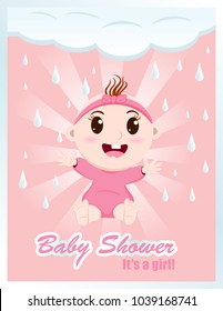 It's a Girl. Baby shower vector card.