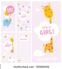 it's a girl, baby shower and welcome cards