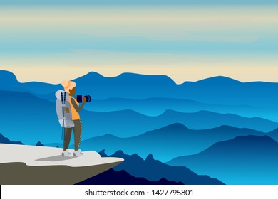 Girl with backpack, traveller and photographer standing on top of mountain and photo the landscape. Concept of discovery, exploration, hiking, adventure tourism and travel. Flat vector illustration.
