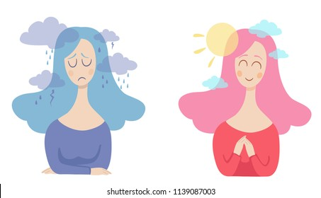 girl with bad and good thoughts in her head. positive and negative thinking. Pessimist and  optimist vector concept illustration.